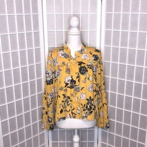Love fire size medium floral long sleeve blouse